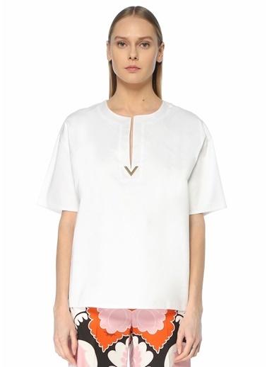 Valentino Valentino  Logo Detaylı T-shirt 101619596 Beyaz
